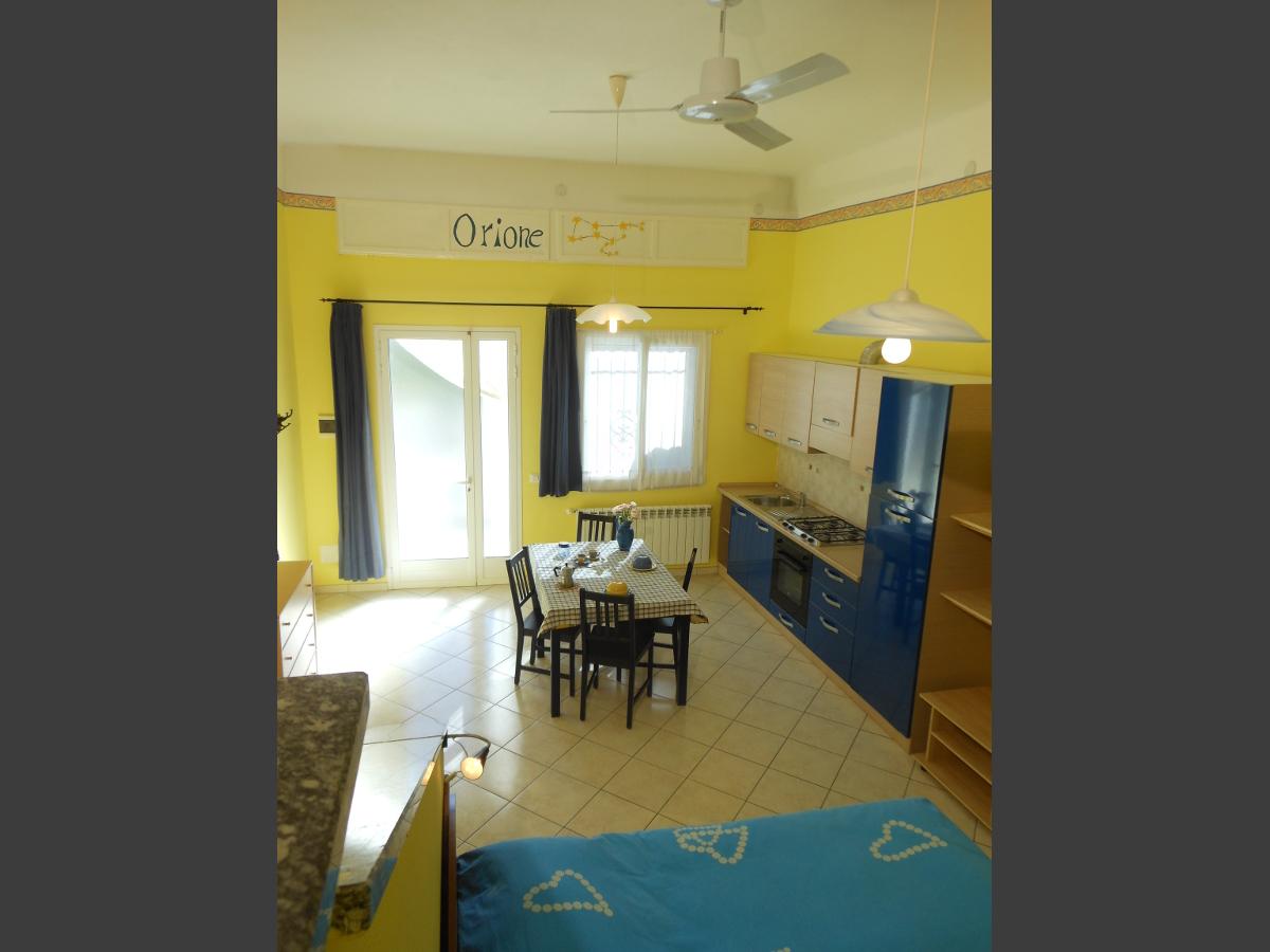 Zona cucina (ventilatore a soffitto) monolocale Orione